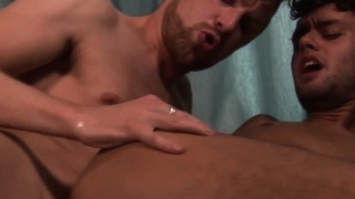 Bearded jocks in blow bang session