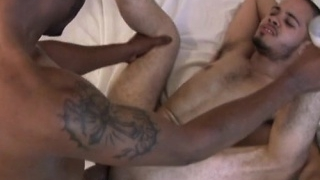 Big cock gay threesome and cumshot