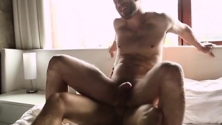 Big dick jock anal sex and facial cum