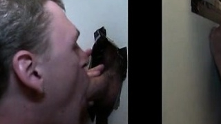 Blonde gay swallowing horny dick on gloryhole
