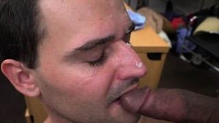 Casting straighty gags on dildo at audition