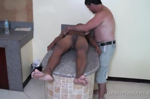 Gay Asian boy Javey loves raw daddy cock