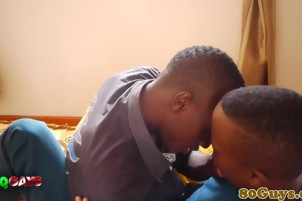 Gay ethnic amateur african gives head after making out