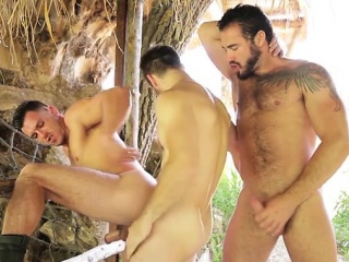 Hairy jock threesome with cumshot Outdoor XXX Gay Porn Tube Video Image