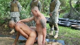Horny gay soldiers fuck after having practice in woods