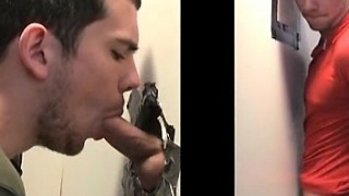 Naked stud drilling gay butt on gloryhole