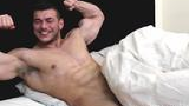 Play In Bed With A Massive Muscle Cock