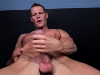 Ripped Solo Model Jerking His Hard Muscle